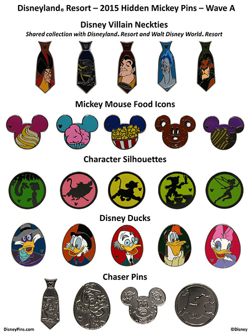 Disneyland 2015 Wave A Hidden Mickey Pins