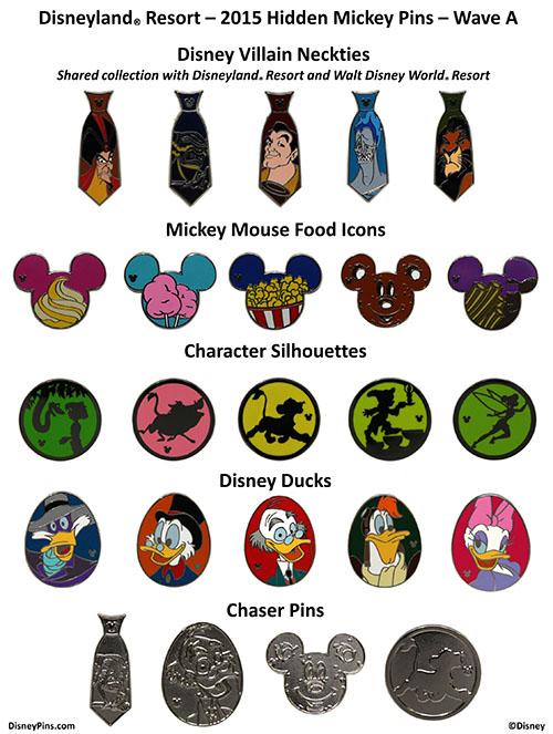 Disneyland 2015 Wave A Hidden Mickey Pins