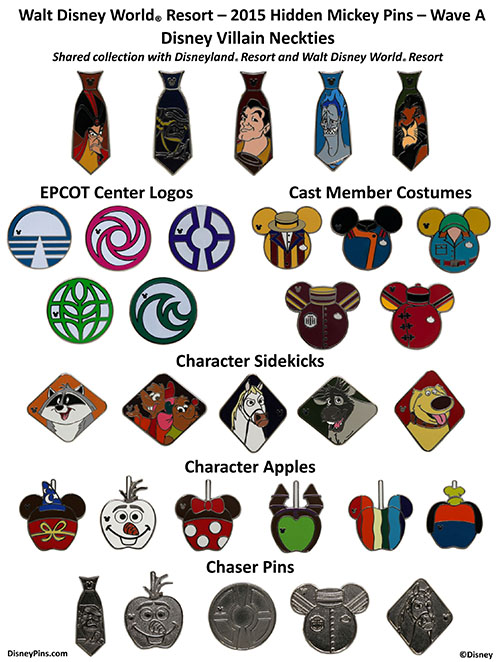 Walt Disney World 2015 Wave A Hidden Mickey Pins