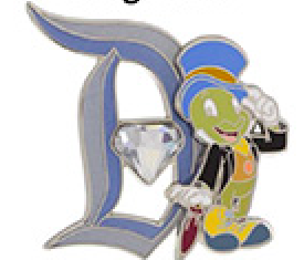 Disneyland 60 Diamond D Jiminy Cricket Pin