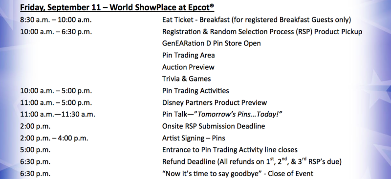 genearation d pin event itinerary disney pins blog