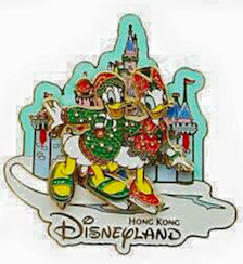 Christmas Donald and Daisy Pin 2015 - Hong Kong Disneyland
