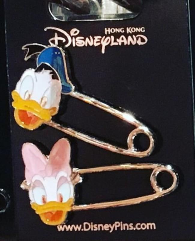 Donald and Daisy Duck Safety Pins - Hong Kong Disneyland