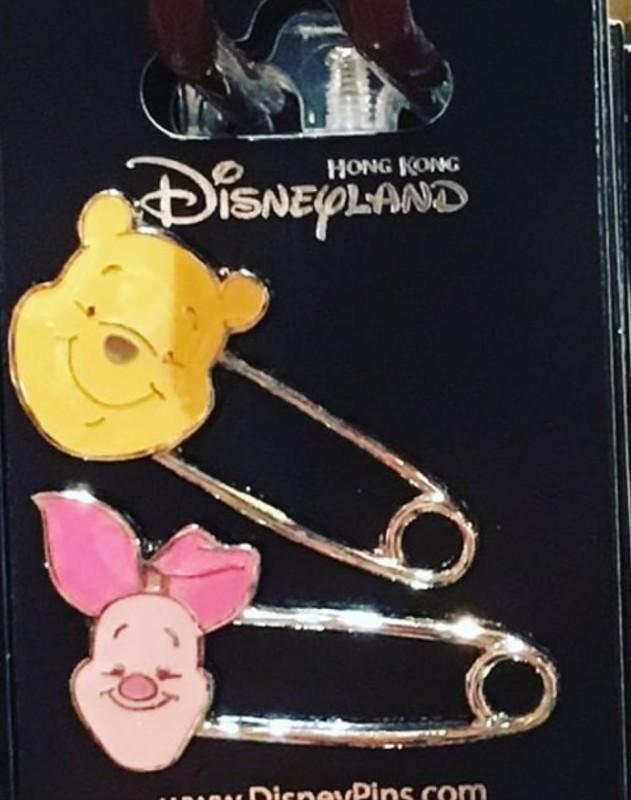 Pooh and Piglet Safety Pins - Hong Kong Disneyland