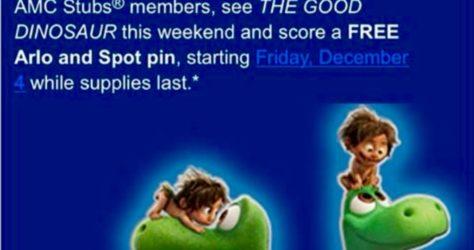 The Good Dinosaur AMC Theatres Pin Promo