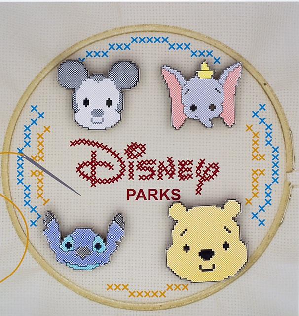 Disney Parks Cross Stitch Pin Set
