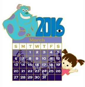 March 2016 Calendar Pin