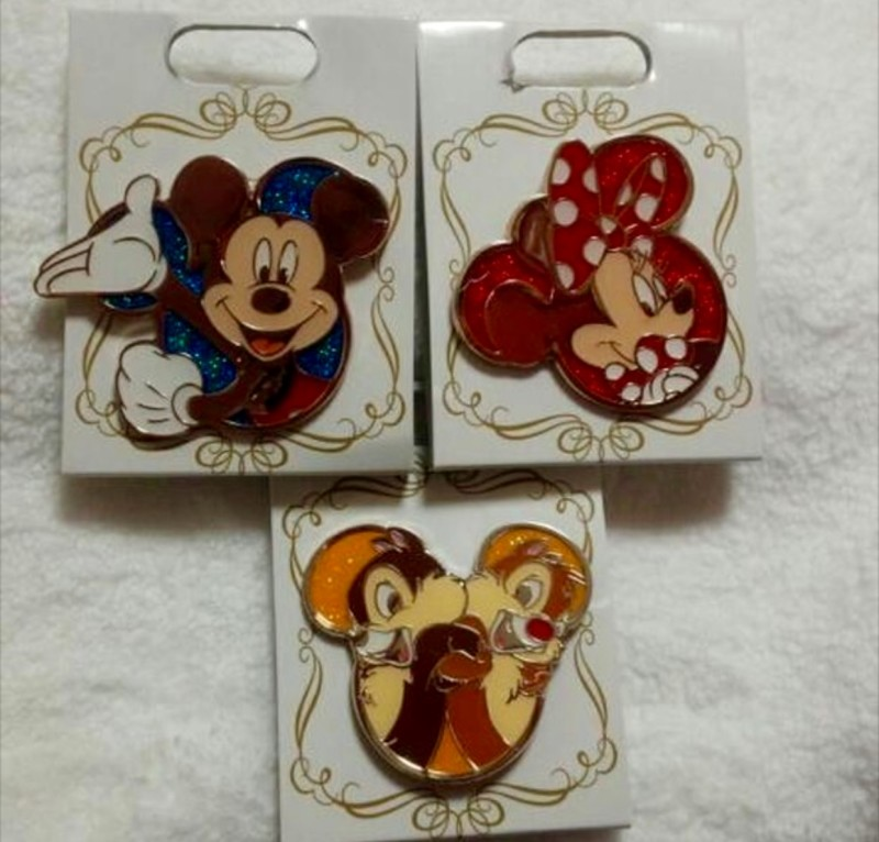 Disney Store Japan Character Glitter Pins 2016