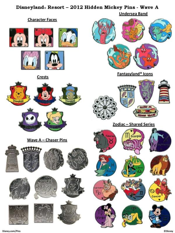 Hidden Mickey Pins 2012 Wave A – Disneyland