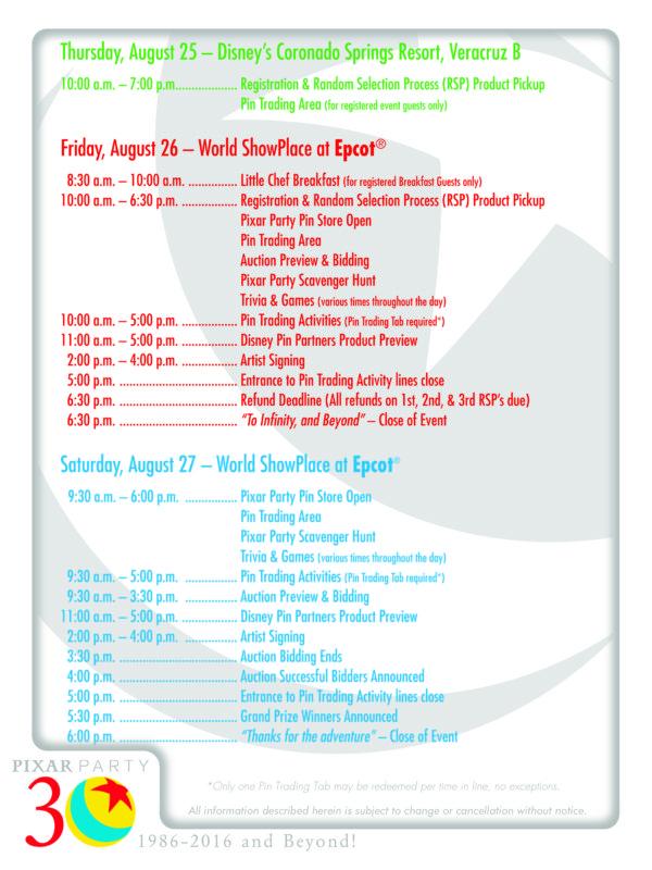 pixar party pin event itinerary disney pins blog