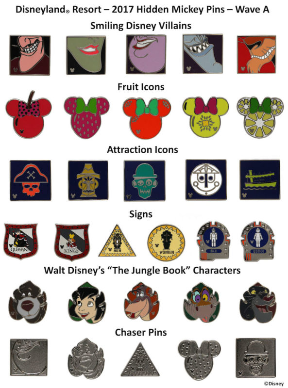 Disneyland 2017 Hidden Mickey Pins