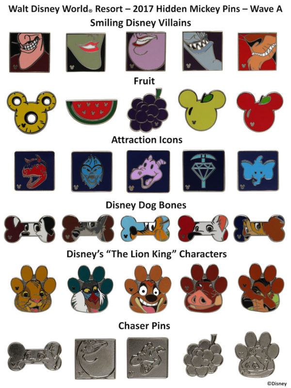 Walt Disney World 2017 Hidden Mickey Pins