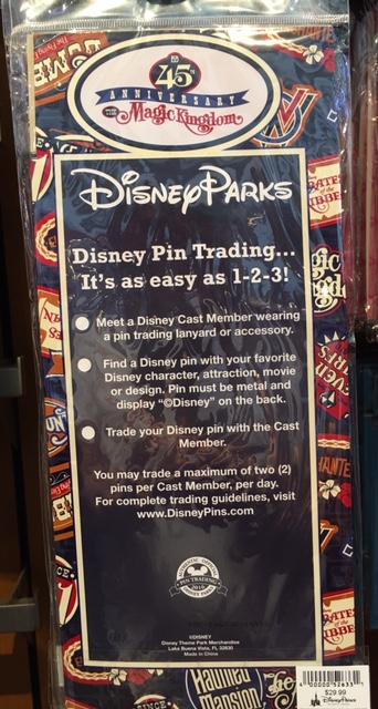 Magic Kingdom 45th Anniversary Disney Pin Trading Starter Set- Back