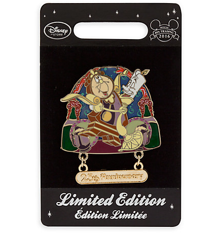 Disney Store Beauty and the Beast 25th Anniversary Pin- On Card