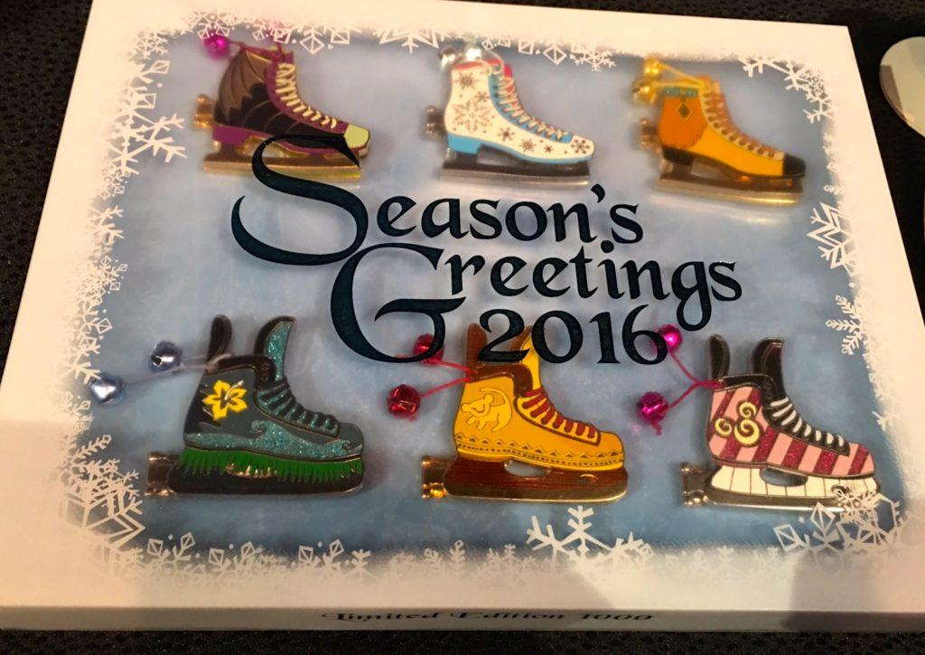 Walt Disney World 2016 Season/'s Greetings Ice Skates 6 Pin Boxed Limited Ed Set