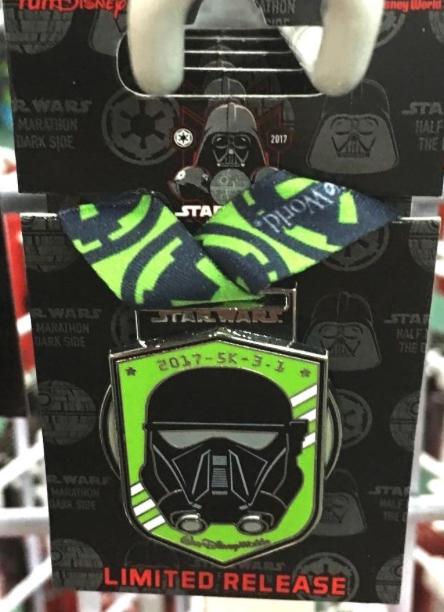 runDisney Star Wars The Dark Side 5K Medal Pin 2017