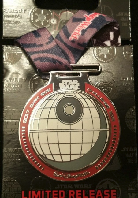 runDisney Star Wars The Dark Side Challenge Medal Pin 2017