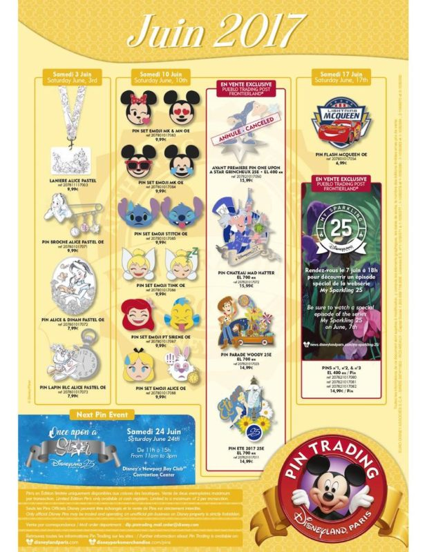 Disneyland Paris June 2017 Pins