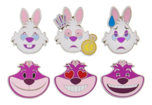 White Rabbit & Cheshire Cat Emoji Pins