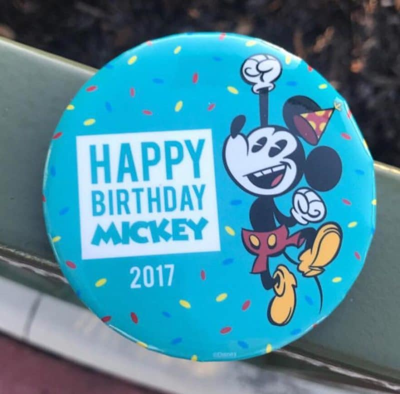 Happy Birthday Mickey Button 2017