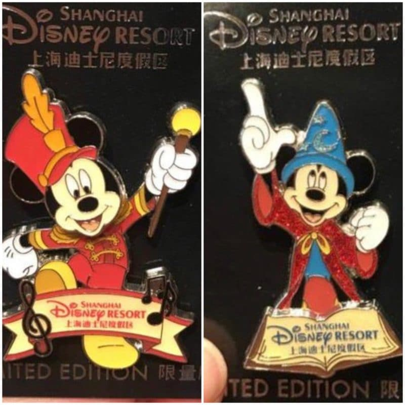Mickey Mouse Marching Band & Sorcerer Pins – Shanghai Disney Resort