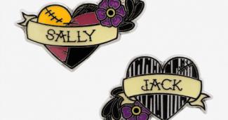 The Nightmare Before Christmas Jack & Sally Hearts Enamel Pin Set