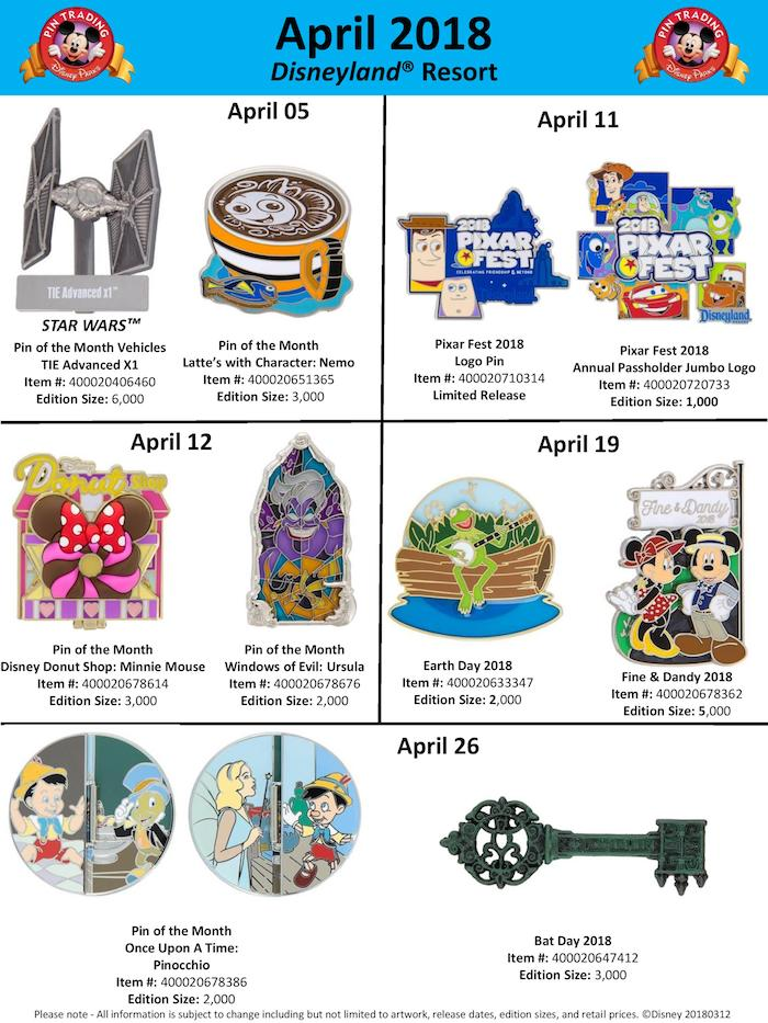 Disneyland April 2018 Pin Preview