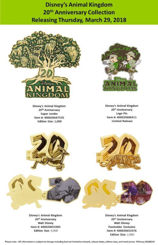 Disney's Animal Kingdom 20th Anniversary Pin Collection
