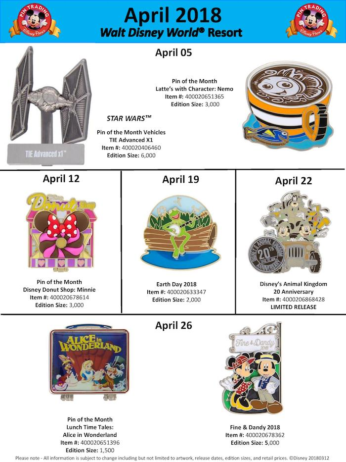 Walt Disney World April 2018 Pin Preview