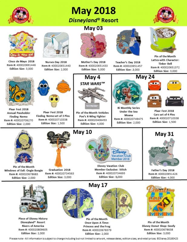Disneyland May 2018 Pin Preview