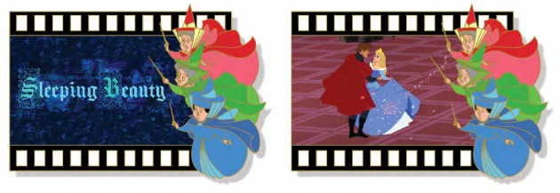 Sleeping Beauty Filmstrip Lenticular Pin