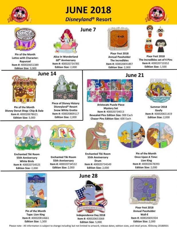 Disneyland June 2018 Pin Preview