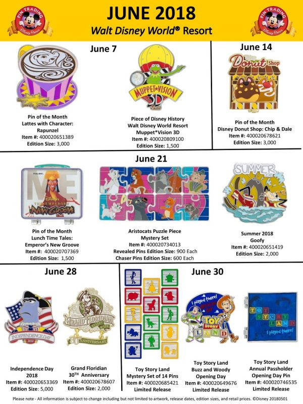 Walt Disney World June 2018 Pin Preview