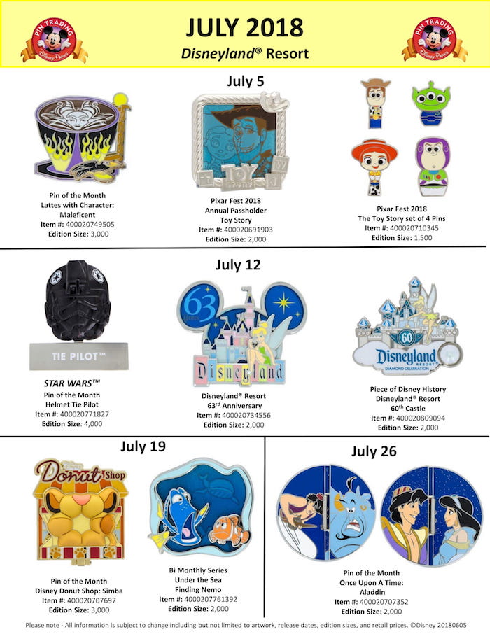 Disneyland July 2018 Pin Preview