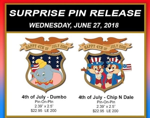 Surprise 4th of July 2018 WDI Pins