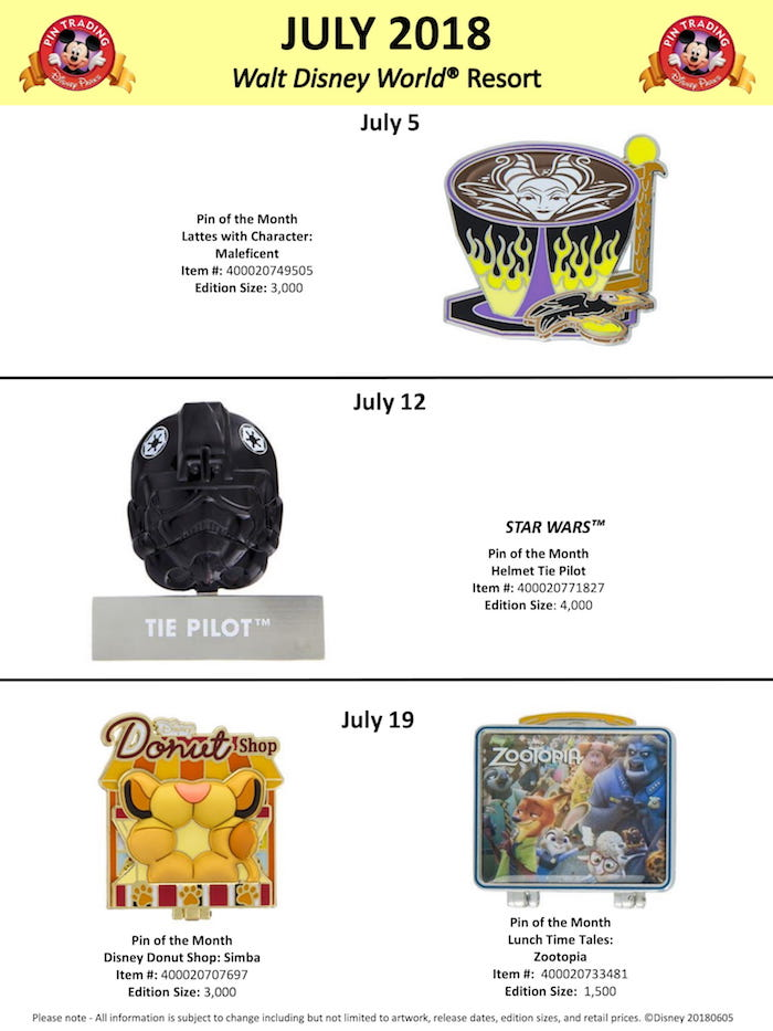 Walt Disney World July 2018 Pin Preview