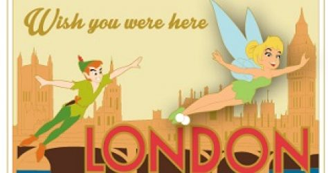Peter Pan London Postcard Pin