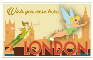 Peter Pan London Postcard Pin