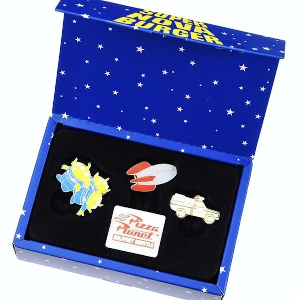 Toy Story Pizza Planet Pin Set Box Open - Disney Store Japan