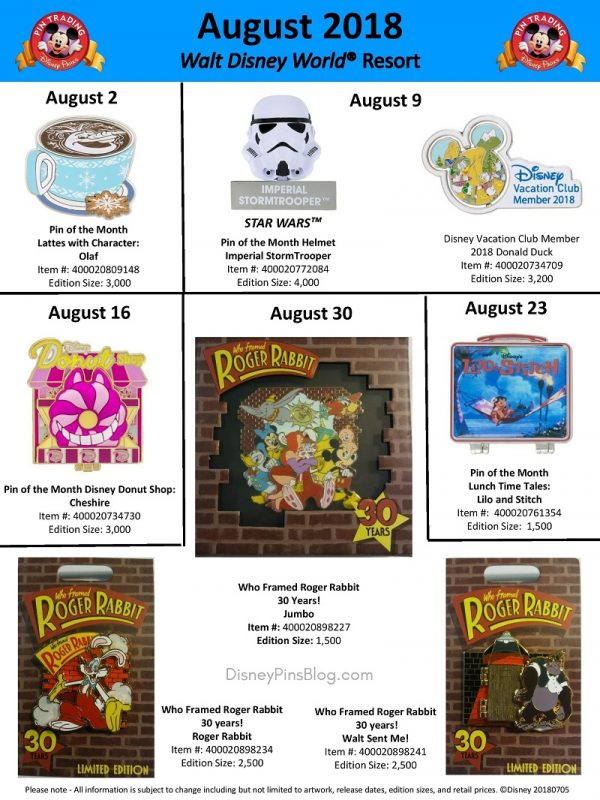 Walt Disney World August 2018 Pin Preview