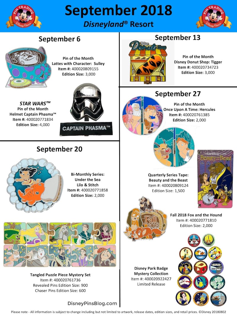 Disneyland September 2018 Pin Preview