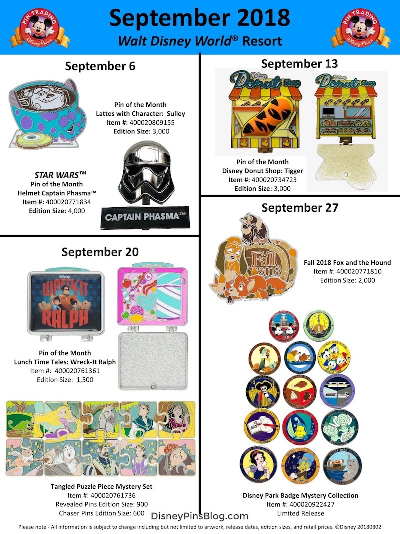 Walt Disney World September 2018 Pin Preview