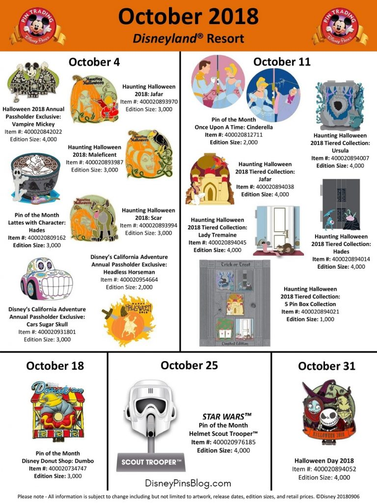Disneyland October 2018 Pin Preview