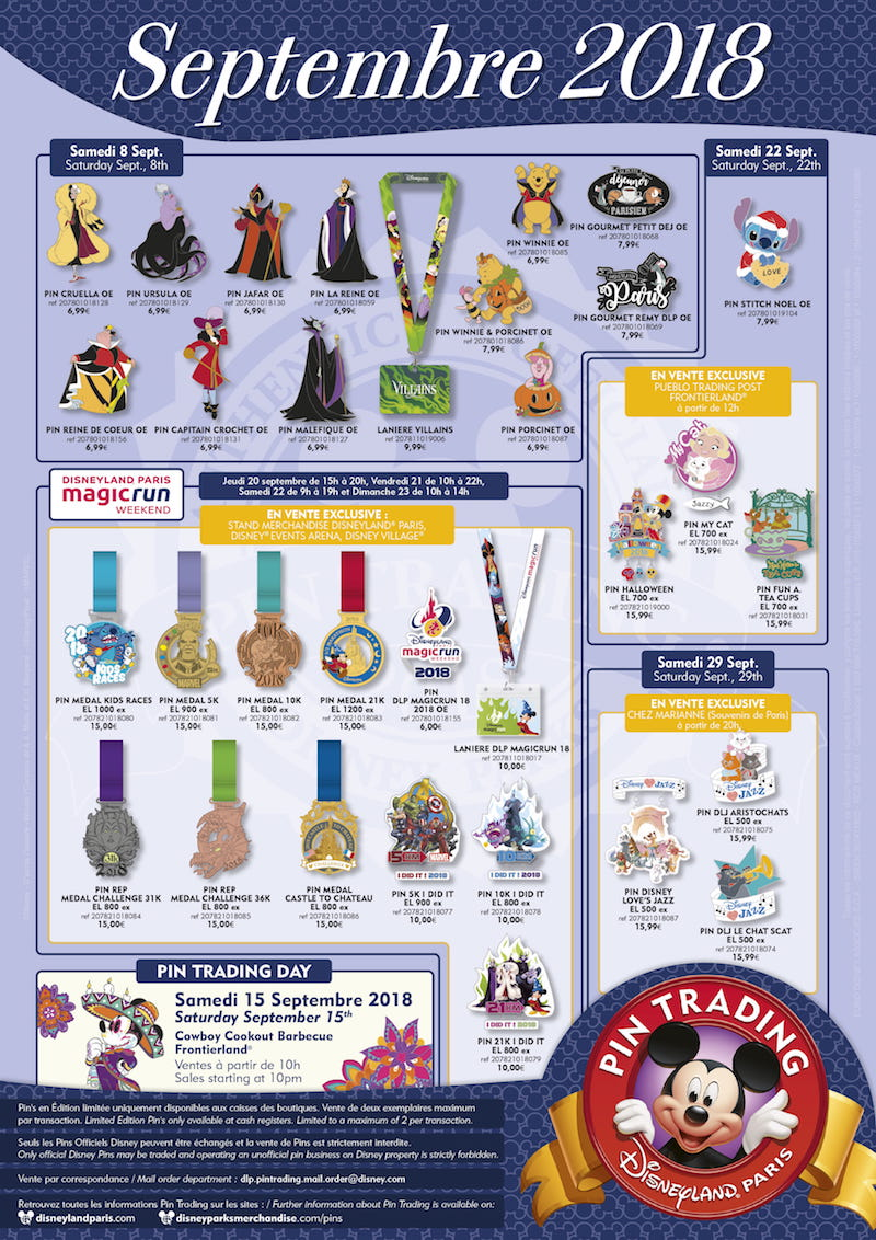 Disneyland Paris September 2018 Pins