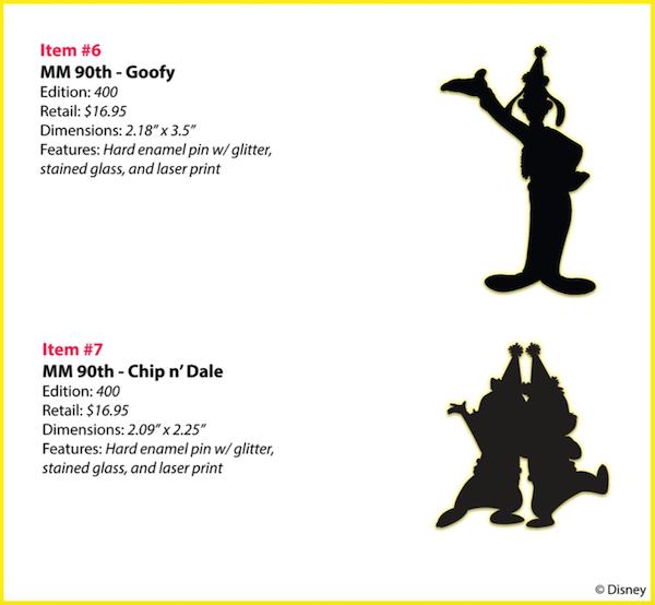 MM 90th Goofy, Chip n Dale WDI Pins