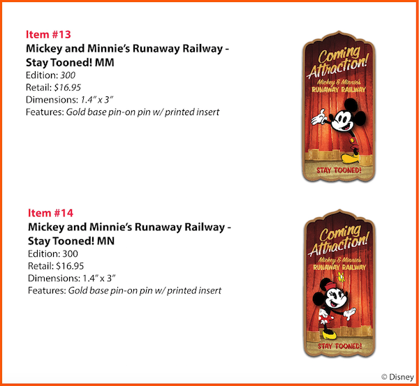Mickey and Minnie's Runaway Railway Stay Tooned WDI Pins