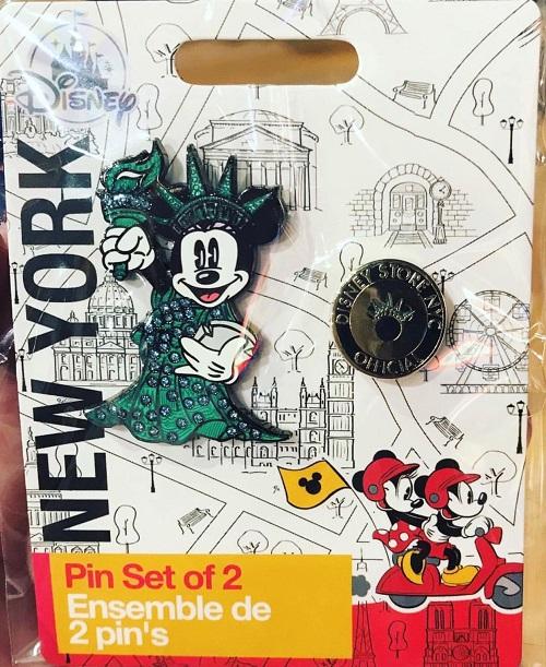 Minnie Statue of Liberty NYC Disney Store Pin Set