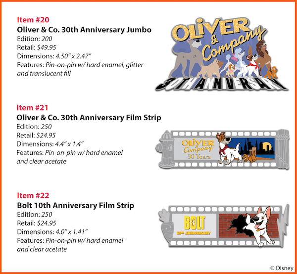 Oliver & Company 30th Anniversary WDI Pins
