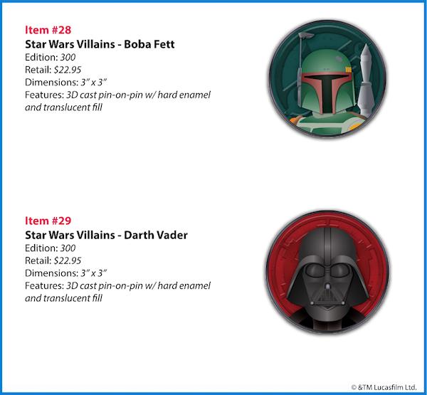 Star Wars Villains WDI Pins - Boba Fett and Darth Vader