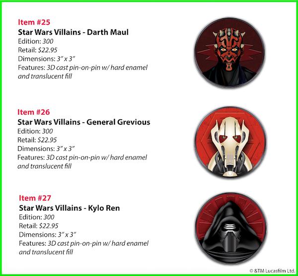 Star Wars Villains WDI Pins - Darth Maul, General Grevious and Kylo Ren